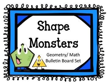 Shape Monsters Bulletin Board Set.  Geometry Math Shapes.