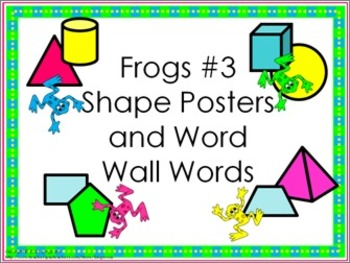 Shape Posters and Word Wall Words - Frogs #3 (bright colors)