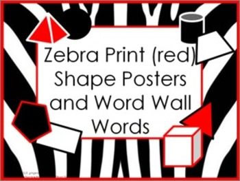 Shape Posters and Word Wall Words - Zebra Print #2 (red)