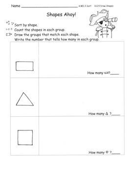 Shape Sorting Centers Pirate Theme 3 Centers with plans  C