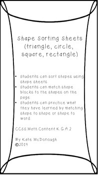 Shape Sorting Sheets for Centers and Review