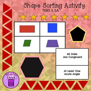 Shape Sorting Small Group or Station Activity 5.5A TEK