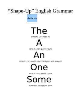 Shape Up English Grammar - List of Articles