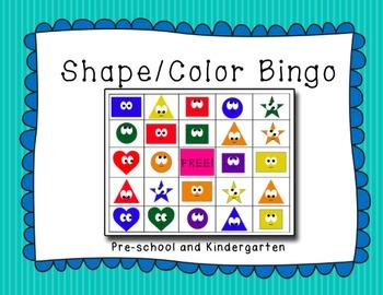 Shape and Color Bingo! Pre-school and Kindergarten