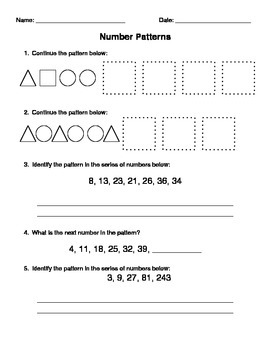 Shape and Number Patterns Assessment