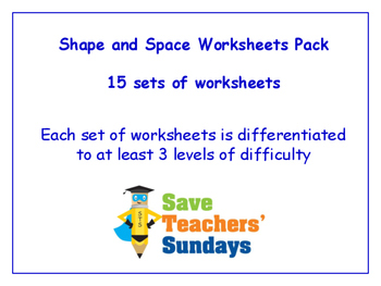 Shape and Space Worksheets Bundle / Pack (15 sets for 1st