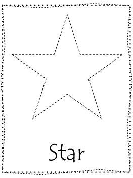 Shape tracing.  Trace the Star Shape.  Preschool printable