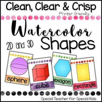 Shape Posters (2D & 3D)- Watercolor Theme
