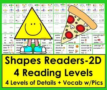 Shapes: 2D Shapes Readers - 4 Reading Levels + Illustrated