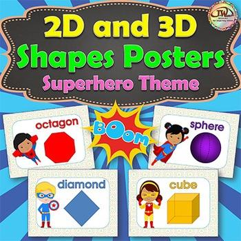 Shapes - 2D and 3D - Superheros Theme