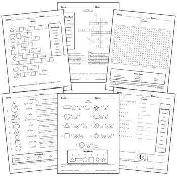 Shapes Circle Square Worksheets Activity Crossword puzzle,