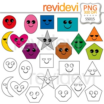 Shapes Clipart - Smiley Shapes clip art and blackline