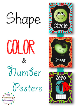 Shapes, Colors, & Number Posters  {Chalkboard Super Hero}