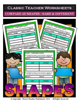Shapes - Compare 2D Shapes - Same and Different - Grades 3