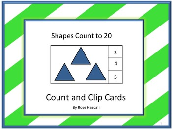 Shapes Task Cards Kindergarten Math Centers Counting to 20