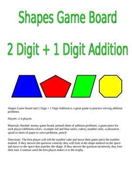 Shapes Game Board and 2 Digit + 1 Digit Addition Game