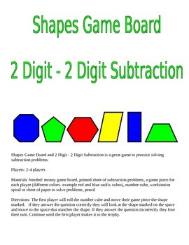 Shapes Game Board and 2 Digit - 2 Digit Subtraction Game
