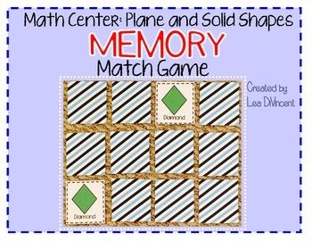 Shapes Match Game - Math Center