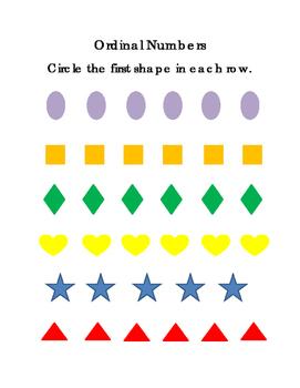 Shapes Ordinal Set 1 First Second Third Sequencing Math Cr