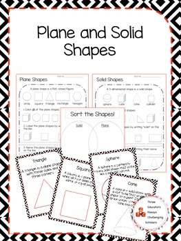 Shapes! Plane and Solid Worksheets and Anchor Charts