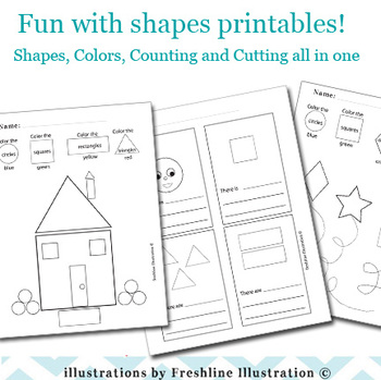 Shapes Printable, Color By Number, Numbers, Math, Kinderga