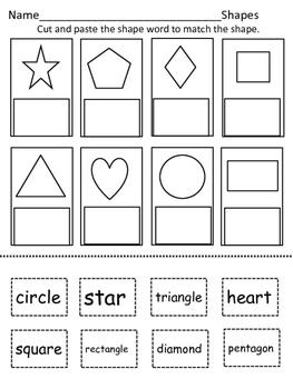 Shapes/Shape Names Cut and Paste
