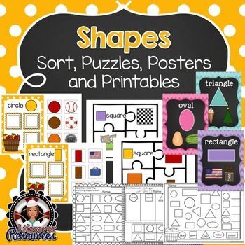 Shapes Sort, Puzzles, Posters, and Printables