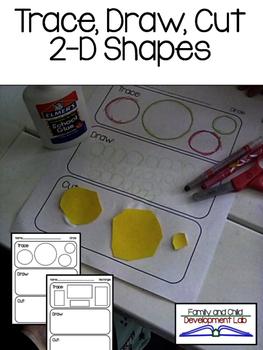 Shapes: Trace, Draw, Cut (2-D Shapes) Kindergarten/ Presch