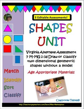 Shapes Unit for Special Education & Virginia Alternate Ass