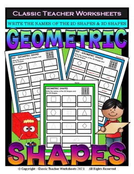 2D Shapes & 3D Shapes - Write Names of Shapes - Grades 3-6