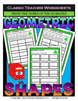 3D Shapes - Write the Names of the 3D Shapes - Grades 3-6