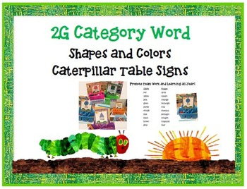 Shapes and Colors Caterpillar Table Signs