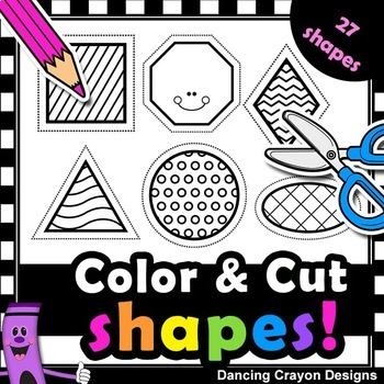 Shapes with Cutting Lines Clip Art