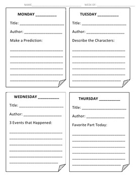 Shared Reading/ Read Aloud Response Sheet