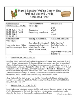 Little Red Hen Shared Reading and Writing Lesson Plan - CC