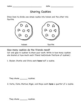 Sharing Cookies - fractions worksheet