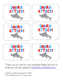 Shark Attack! Sight Word Game