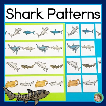 Shark Patterns Math Center with AB, ABC, AAB & ABB Patterns