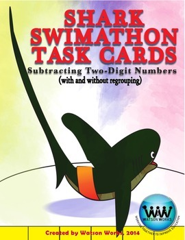 Shark Swimathon Task Cards: Subtracting Two-Digit Numbers