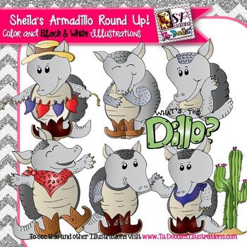 Sheila's Armadillo Round Up Clip Art