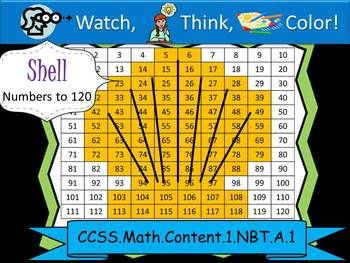 Shell Hundreds Chart to 120 - Watch, Think, Color! CCSS.1.NBT.A.1