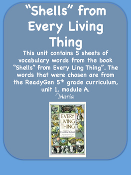 ReadyGen Shells from Every Living Thing Word Wall Vocabula