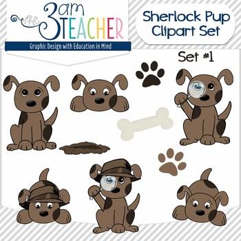 Sherlock Dog Clip Art Set: #1