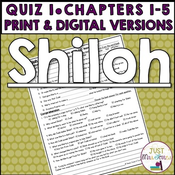 Shiloh Quiz 1 (Ch. 1-5)