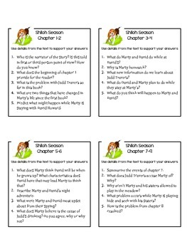Shiloh Season Reading Comprehension Questions
