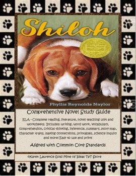 Shiloh by Phyllis Reynolds Naylor DOGS Novel Book Study Gu