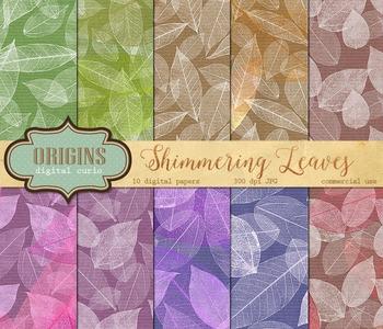 Shimmering Leaves, Leaf and Kraft Scrapbook Digital Paper