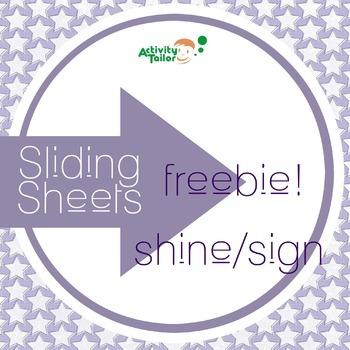 Shine/Sign Sliding Worksheet FREEBIE!