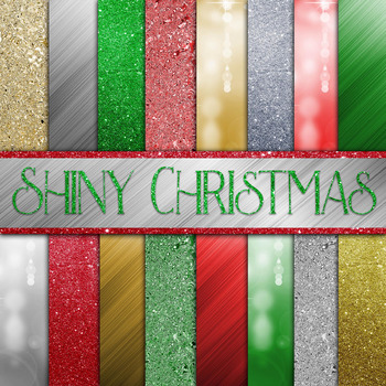 Shiny Christmas Digital Paper Pack - 16 Different Papers -