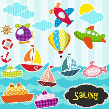 Ship and Airplane Clip Art Sailing Clip Art - Colored and